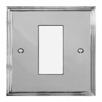 Edwardian Plate for Modular Electrical Components 50x25mm Polished Chrome