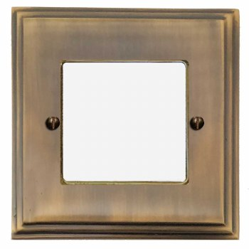 Edwardian Plate for Modular Electrical Components 50x50mm Antique Brass Lacquered