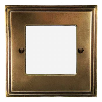 Edwardian Plate for Modular Electrical Components 50x50mm Hand Aged Brass