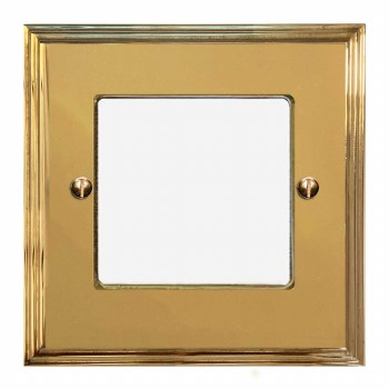 Edwardian Plate for Modular Electrical Components 50x50mm Polished Brass Unlacquered