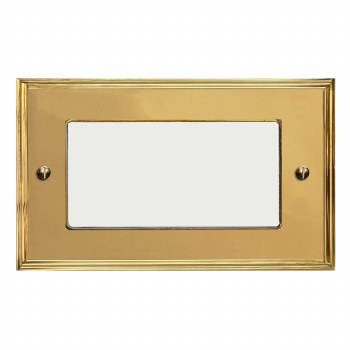 Edwardian Plate for Modular Electrical Components 50x100mm Polished Brass Unlacquered