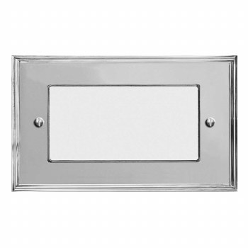 Edwardian Plate for Modular Electrical Components 50x100mm Polished Chrome