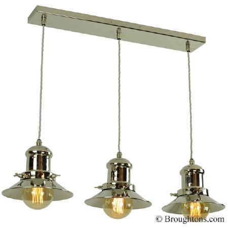 Edison Small 3 Light Bar Pendant Polished Nickel