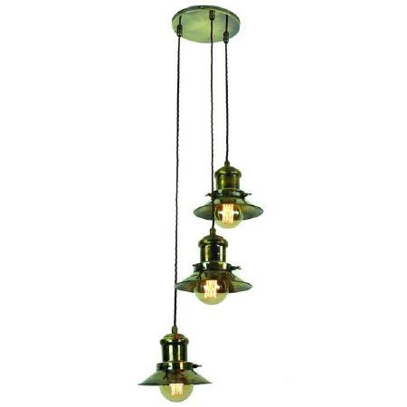 Edison Small 3 Light Cluster Pendant Antique Brass