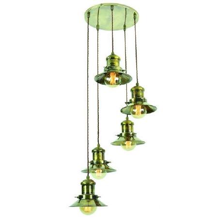 Edison Small 5 Light Cluster Pendant Antique Brass