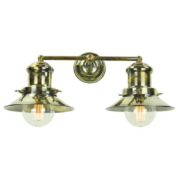 Edison Small Double Wall Light Antique Brass