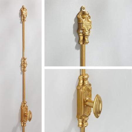 Edwardian Espagnolette Bolt Polished Brass Unlacquered