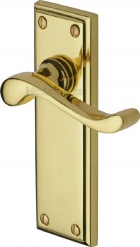 Heritage Edwardian Door Handles W3213 Polished Brass Lacquered