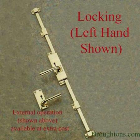 Aston Locking Espagnolette Bolt Polished Brass Unlacquered