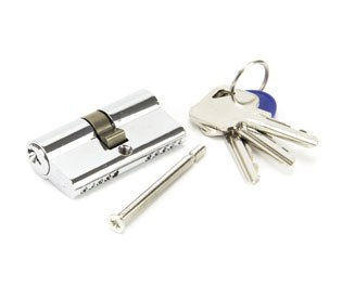 From The Anvil Euro Lock Cylinder 30/30 Polished Chrome Key Dfifer