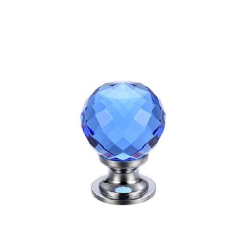 Facetted Glass Cabinet Knob 25mm, Blue