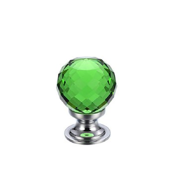 Facetted Glass Cabinet Knob 25mm, Green