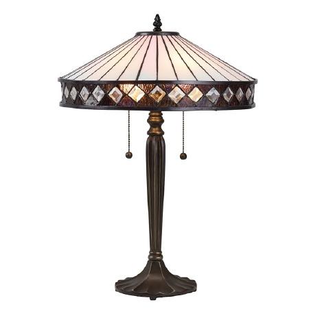 Interiors 1900 Fargo Tiffany Table Lamp White
