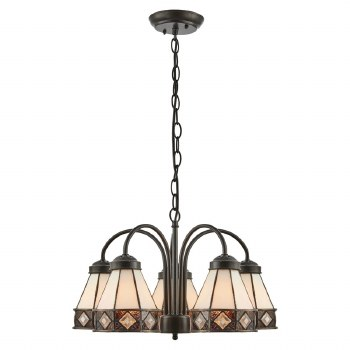 Interiors 1900 Fargo Tiffany 5 Light Down Pendant 74346