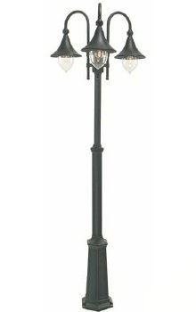 Elstead Firenze Triple Light Lamp Post Black