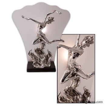 Flame Dancer Art Deco Table Lamp Chrome