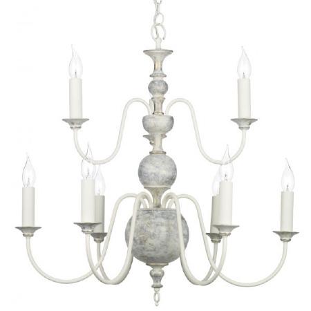 Flemish 9 Light Chandelier Distressed Powder Grey