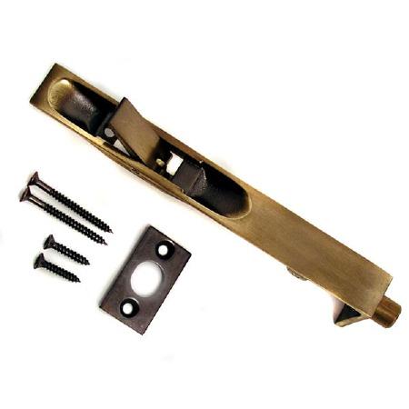 Flush Door Bolt Antique Brass Unlacquered