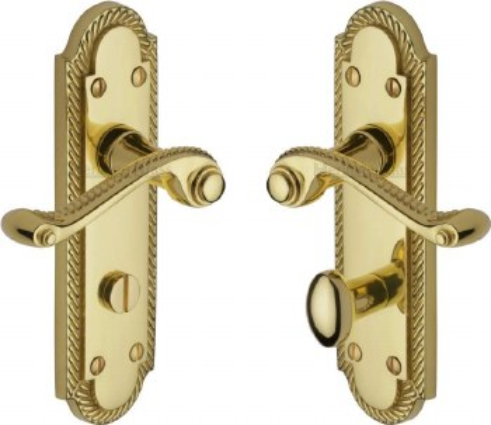 Heritage Gainsborough Bathroom Door Handles G025 Polished Brass Lacq