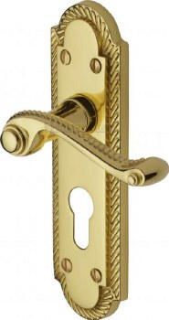 Heritage Gainsborough Euro Lock Handles G028 Polished Brass Lacquered