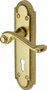Heritage Gainsborough Door Lock Handles G010 Polished Brass Lacquered