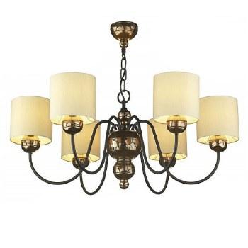 Garbo 6 Light Bronze Chandelier with Cream Shades