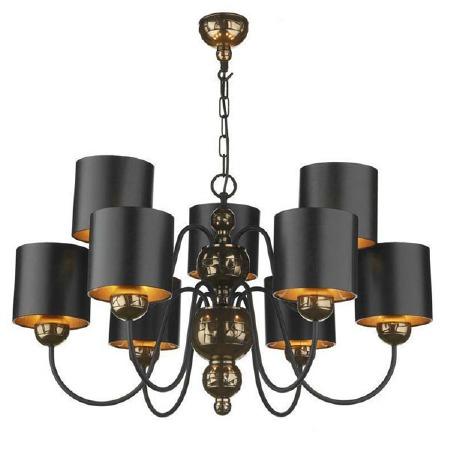 Garbo 9 Light Bronze Chandelier with  Black Shades
