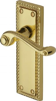 Heritage Georgian Latch Door Handles G063 Polished Brass Lacquered