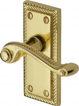 Heritage Georgian Short Latch Door Handles G060 Polished Brass Lacquered