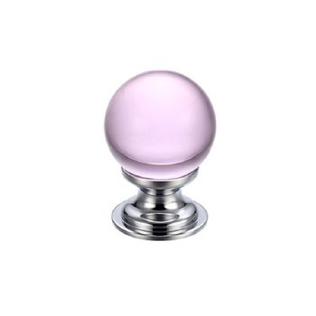 Plain Glass Cupboard Door Knob 25mm Pink