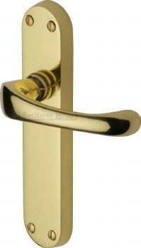 Heritage Gloucester Door Latch Handles V6060 Polished Brass Lacquered