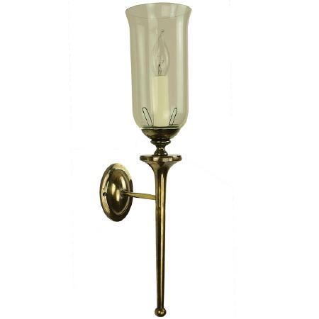 Grosvenor Wall Light with Storm Glass, Light Antique Brass
