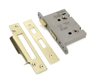 """From The Anvil Heavy Duty Bathroom Mortice Lock 3"""" Polished Brass"""