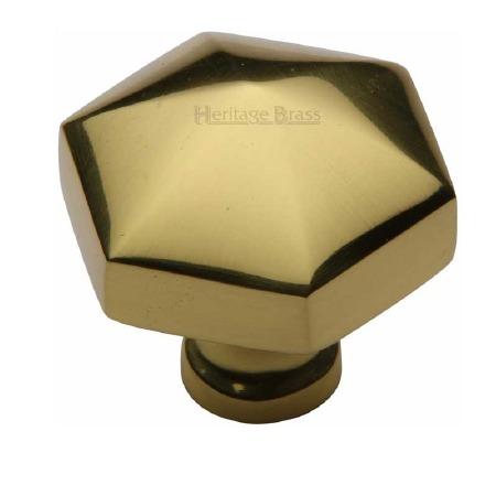 Heritage Hexagon Cabinet Knob C2238 Polished Brass