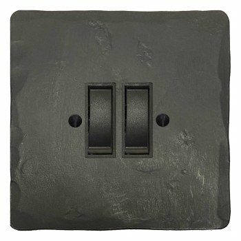 Hand Forged Rocker Light Switch 2 Gang Anthracite