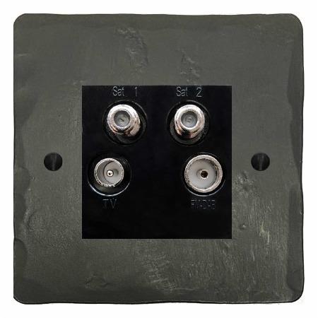 Hand Forged Quadplex TV Socket Anthracite
