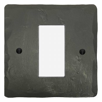 Hand Forged Plate for Modular Electrical Components 50x25mm Hand Forged Anthracite