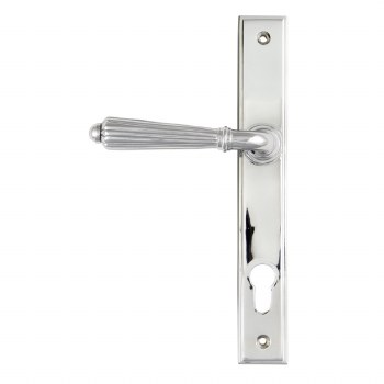 From The Anvil Hinton Slimline Sprung Lever Espag Lock Set Door Handle Polished Chrome