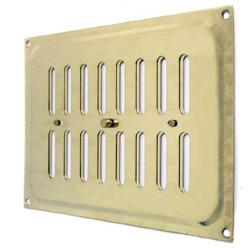 """Hit and Miss Air Vent 9.5"""" x 6.5"""" Polished Brass Unlacquered"""