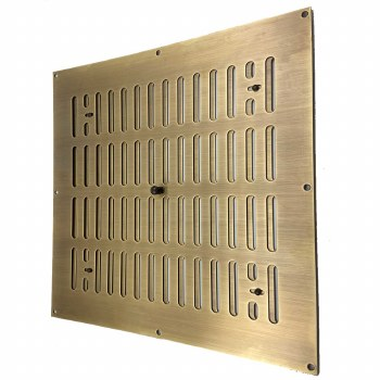 """Hit and Miss Air Vent 12"""" x 12"""" Antique Brass Unlacquered"""