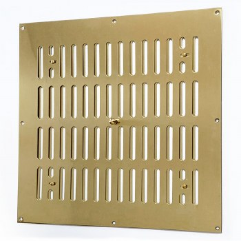 """Hit and Miss Air Vent 12"""" x 12"""" Polished Brass Unlacquered"""
