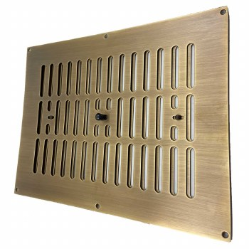 """Hit and Miss Air Vent 12"""" x 9"""" Antique Brass Unlacquered"""