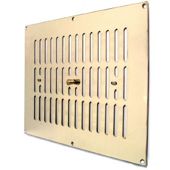 """Hit and Miss Air Vent 12"""" x 9"""" Polished Brass Unlacquered"""