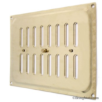 """Hit and Miss Air Vent 9.5"""" x 6.5"""" Polished Brass Lacquered"""