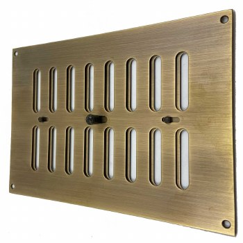 """Hit and Miss Air Vent 9"""" x 6"""" Antique Brass Unlacquered"""