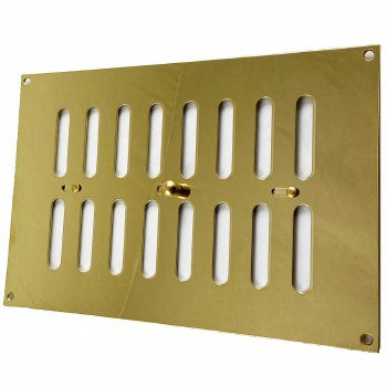 """Hit and Miss Air Vent 9"""" x 6"""" Polished Brass Unlacquered"""