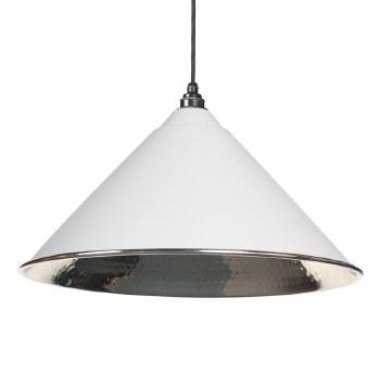 From The Anvil Hockley Pendant Light Hammered Nickel Interior Light Grey