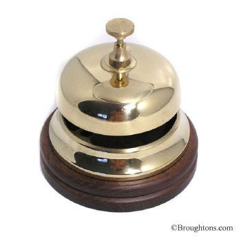 Hotel Counter Bell on Wooden Base