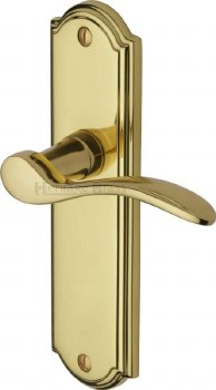 Heritage Howard Latch Door Handles HOW1310 Polished Brass Lacquered