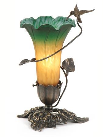 Hummingbird Art Nouveau Table Lamp Amber